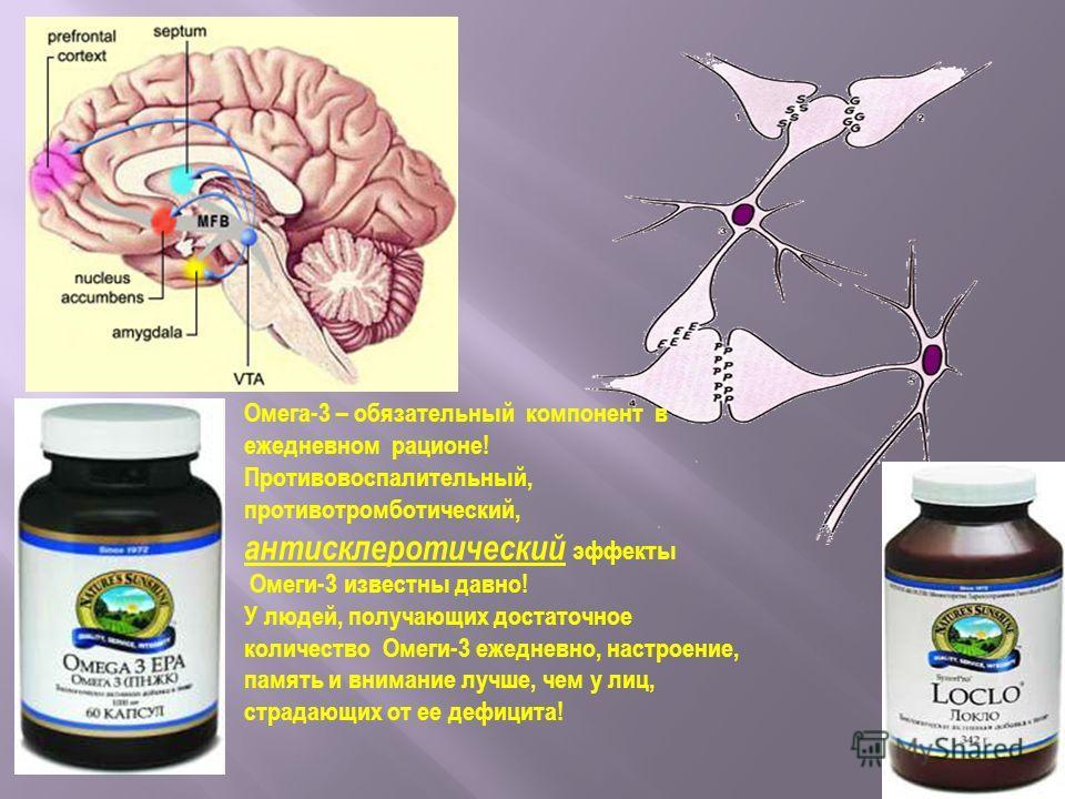 Омега-3 – обязательный компонент в ежедневном рационе! Противовоспалительный, противотромботический, антисклеротический эффекты Омеги-3 известны давно! У людей, получающих достаточное количество Омеги-3 ежедневно, настроение, память и внимание лучше,