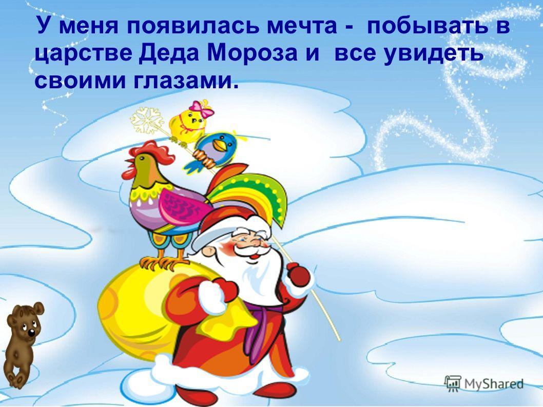 У меня появилась мечта - побывать в царстве Деда Мороза и все увидеть своими глазами.