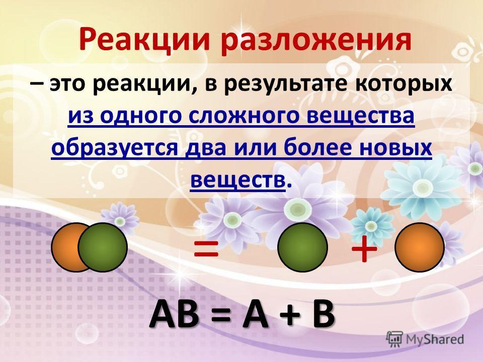 – это реакции, в результате которых из одного сложного вещества образуется два или более новых веществ. Реакции разложения += АВ = А + В