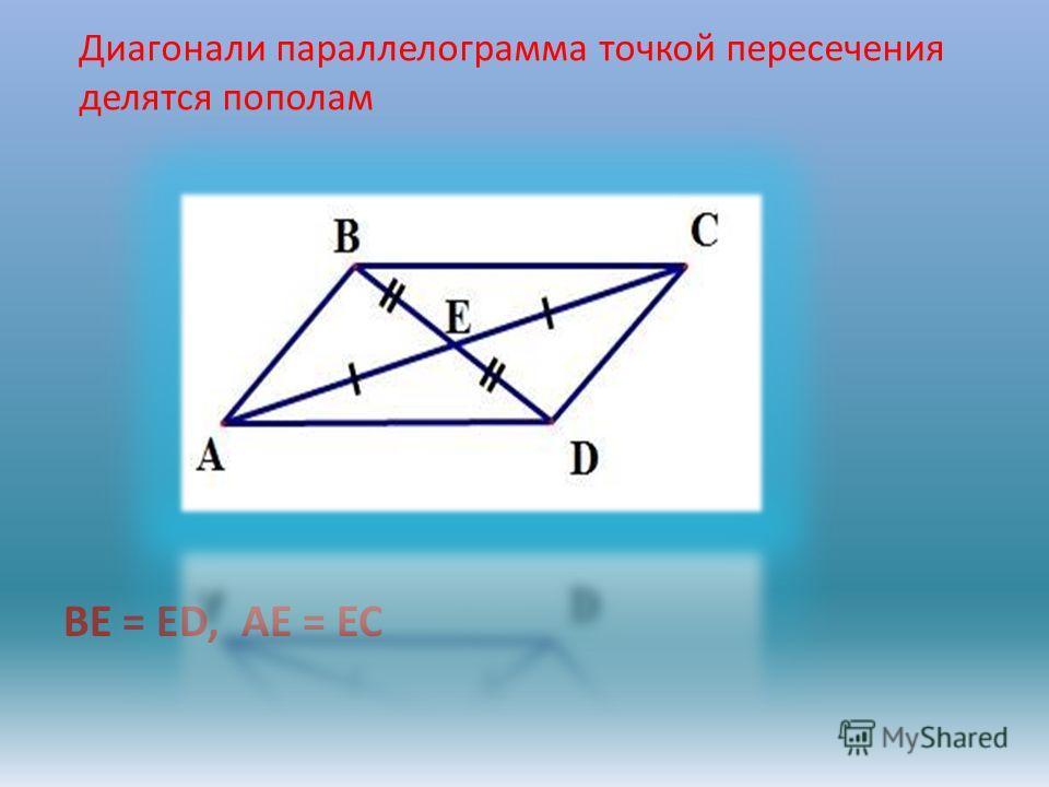 BE = ED, AE = EC Диагонали параллелограмма точкой пересечения делятся пополам