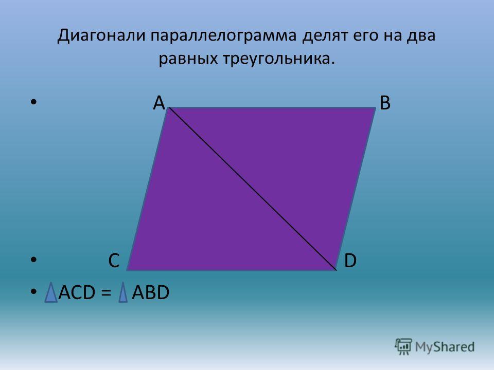 Диагонали параллелограмма делят его на два равных треугольника. А В С D АСD = ABD