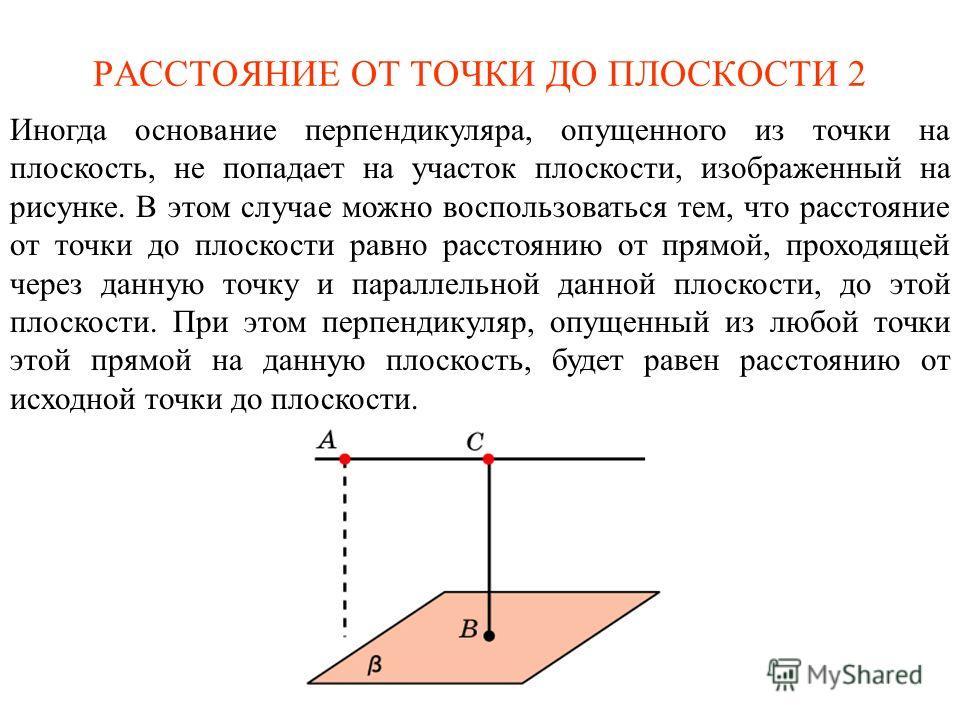 РАССТОЯНИЕ ОТ ТОЧКИ ДО ПЛОСКОСТИ 2 Иногда основание перпендикуляра, опущенного из точки на плоскость, не попадает на участок плоскости, изображенный на рисунке. В этом случае можно воспользоваться тем, что расстояние от точки до плоскости равно расст