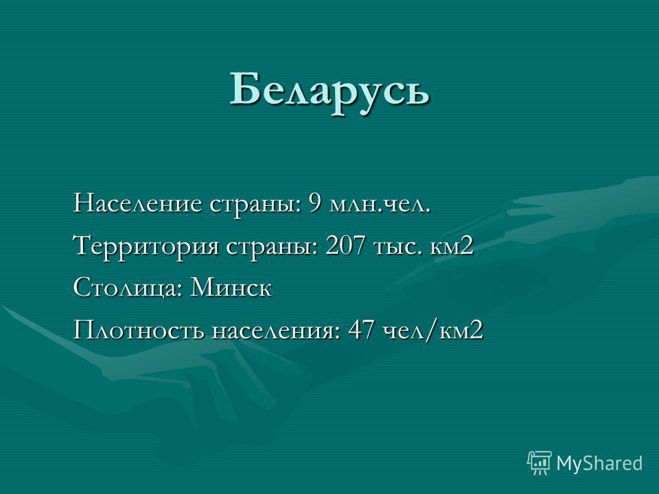 Беларусь Население страны: 9 млн.чел. Территория страны: 207 тыс. км2 Столица: Минск Плотность населения: 47 чел/км2