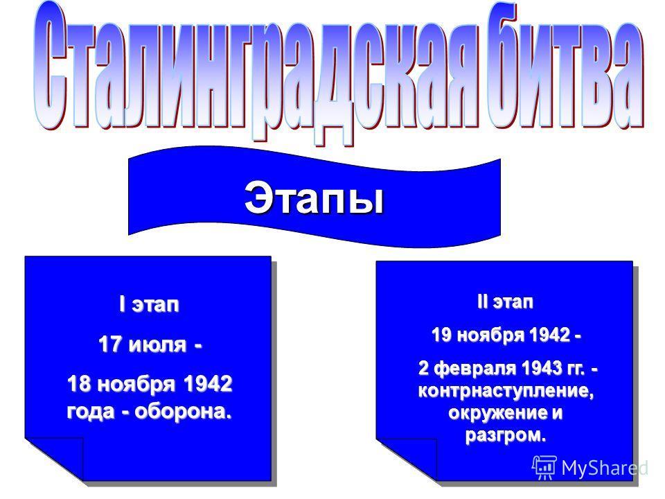 Этапы I этап 17 июля - 18 ноября 1942 года - оборона. II этап 19 ноября 1942 - 2 февраля 1943 гг. - контрнаступление, окружение и разгром. 2 февраля 1943 гг. - контрнаступление, окружение и разгром.
