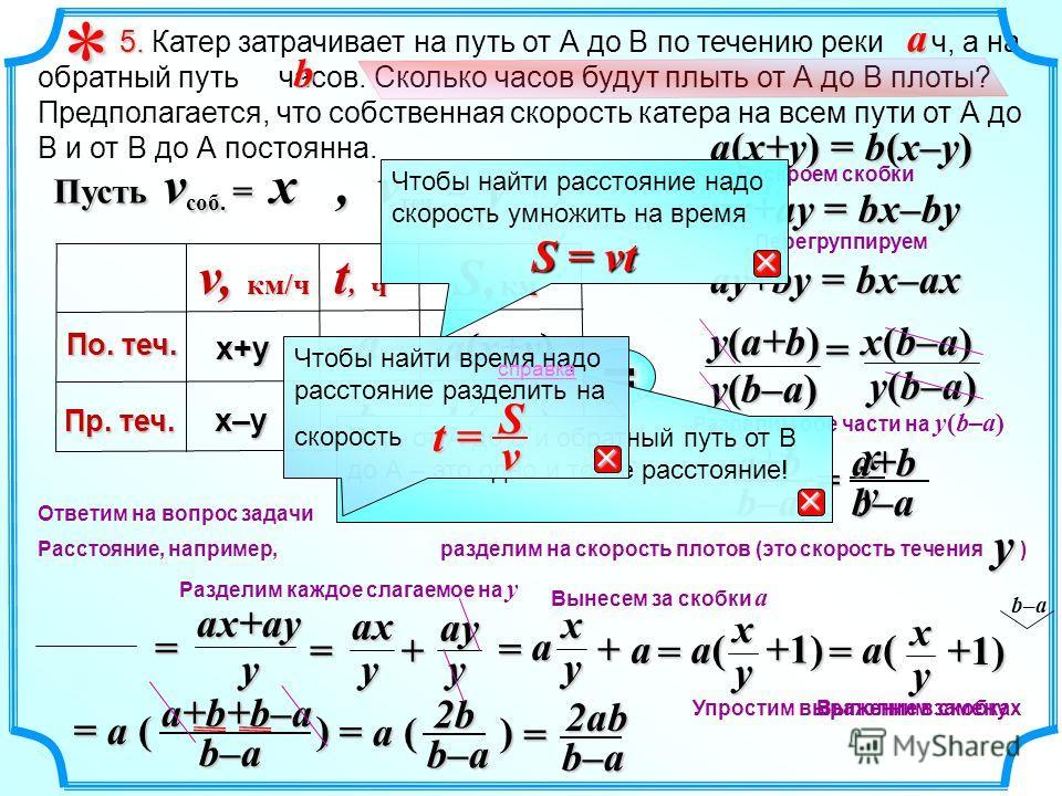 xy b–aa+b= b b(x–y) Разделим обе части на y(b–a) y b–aa+b a(x+y) Расстояние, например, разделим на скорость плотов (это скорость течения ) a(x+y) = b(x–y) ax+ay = bx–by ay+by = bx–ax y(a+b) x(b–a) y(b–a) = 5. 5. Катер затрачивает на путь от А до В по