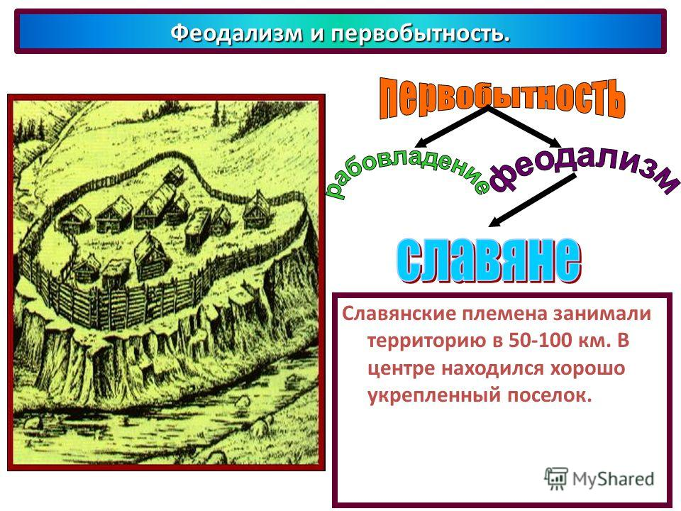 Феодализм и первобытность. Славянские племена занимали территорию в 50-100 км. В центре находился хорошо укрепленный поселок.