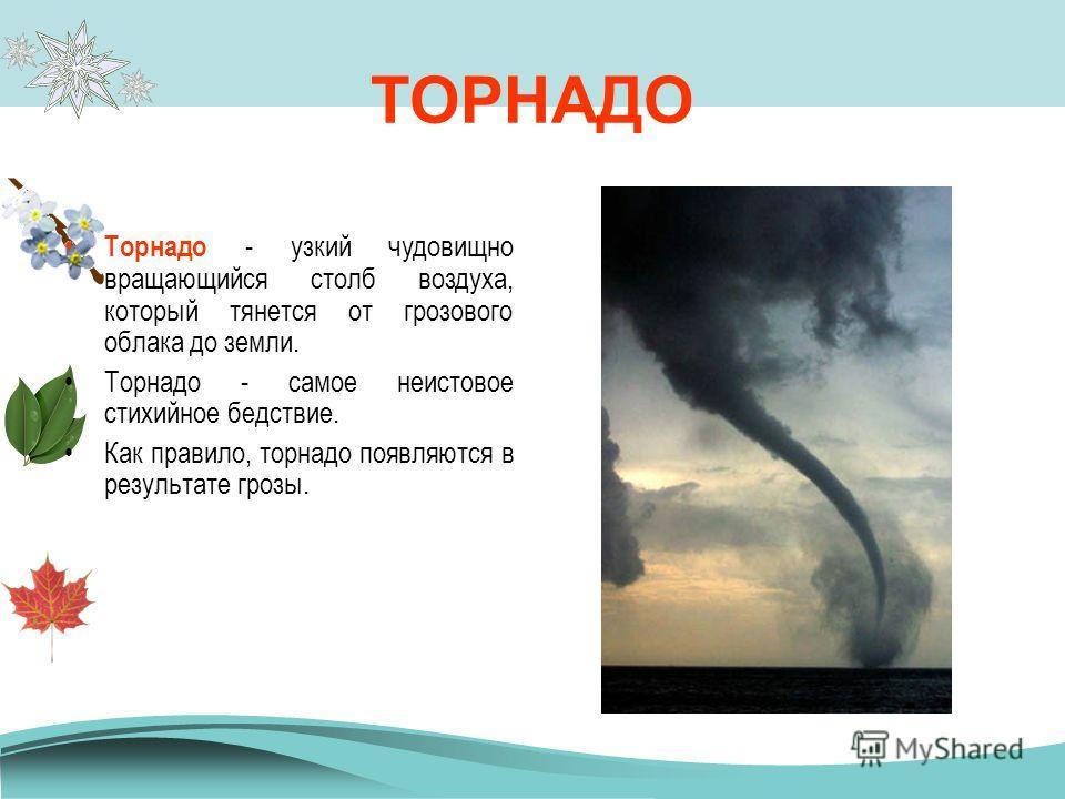 ТАЙФУН Тайфуны - атмосферные тропические вихри. В центре тайфуна ветер почти отсутствует и уменьшена облачность - это «глаз бури». Это наиболее опасное и разрушительное природное явление на нашей планете. Ежегодно на Земле случается 20- 25 тайфунов.