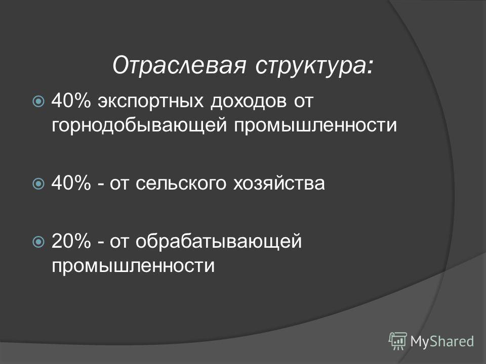 Отраслевая структура: 40% экспортных доходов от горнодобывающей промышленности 40% - от сельского хозяйства 20% - от обрабатывающей промышленности
