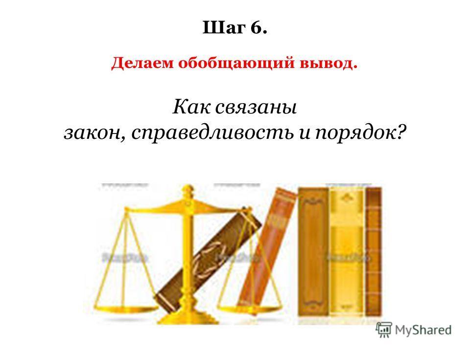 Делаем обобщающий вывод. Шаг 6. Как связаны закон, справедливость и порядок?