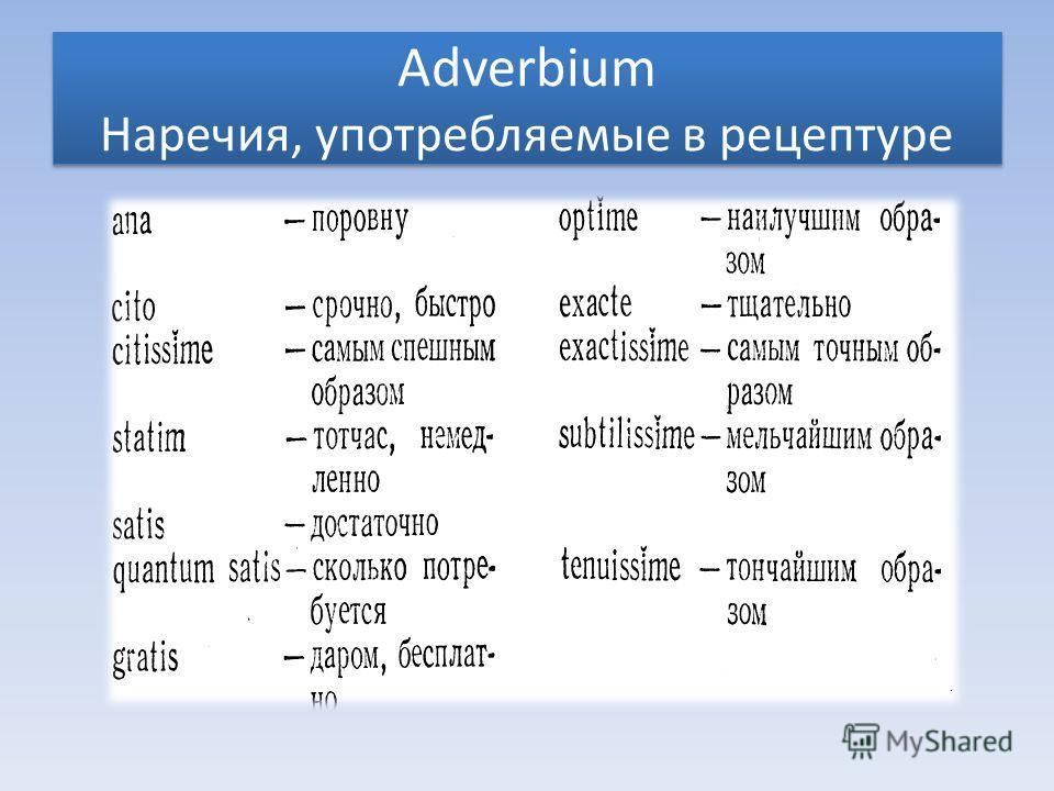 Adverbium Наречия, употребляемые в рецептуре