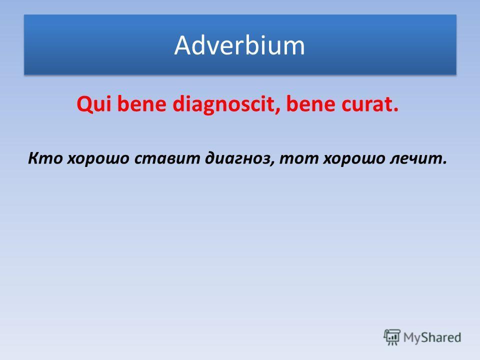 Adverbium Qui bene diagnoscit, bene curat. Кто хорошо ставит диагноз, тот хорошо лечит.