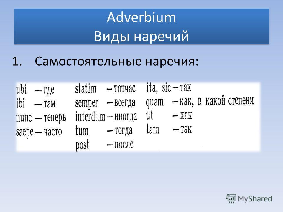 Adverbium Виды наречий 1.Самостоятельные наречия: