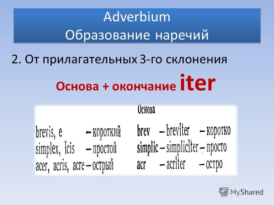 Adverbium Образование наречий 2. От прилагательных 3-го склонения Основа + окончание iter