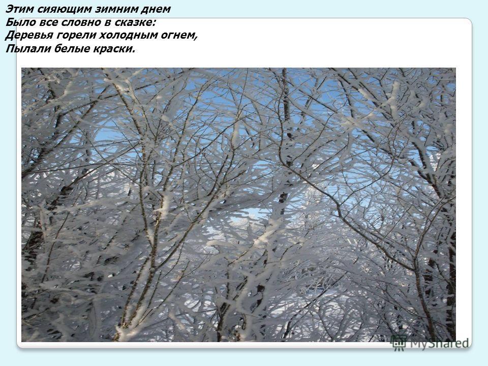 Этим сияющим зимним днем Было все словно в сказке: Деревья горели холодным огнем, Пылали белые краски.