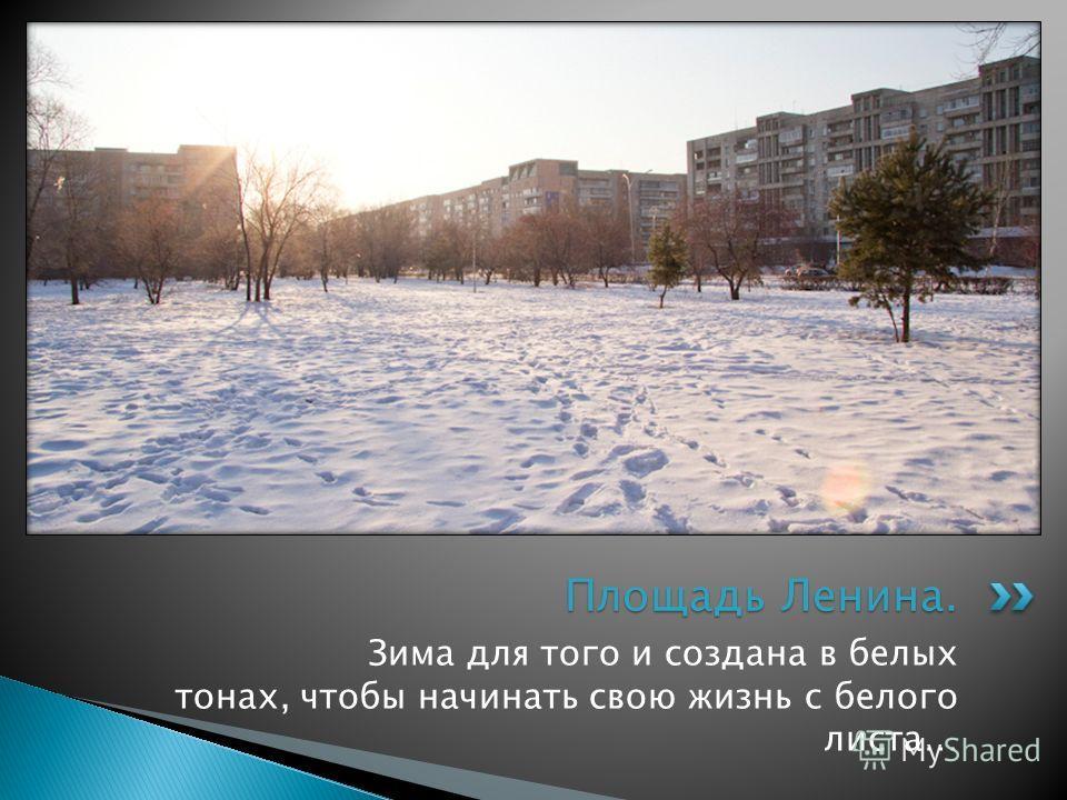 Зима для того и создана в белых тонах, чтобы начинать свою жизнь с белого листа… Площадь Ленина.