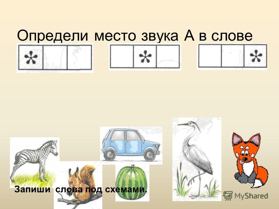 Определи место звука А в слове Запиши слова под схемами.