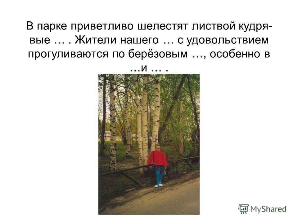 В парке приветливо шелестят листвой кудря- вые …. Жители нашего … с удовольствием прогуливаются по берёзовым …, особенно в …и ….