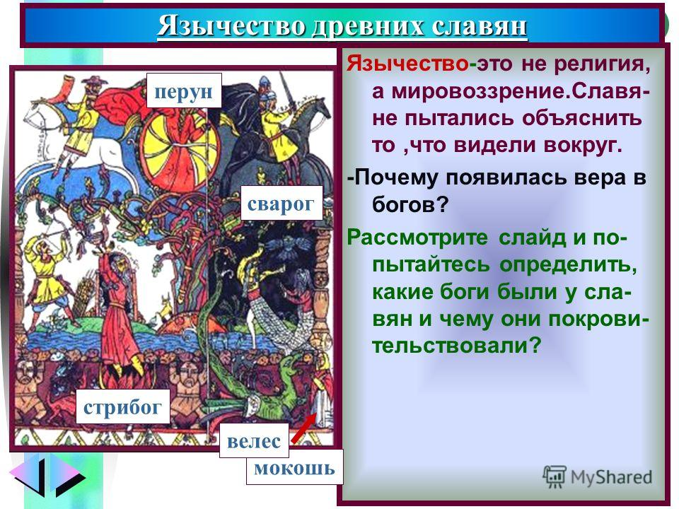 Меню Язычество древних славян Язычество-это не религия, а мировоззрение.Славя- не пытались объяснить то,что видели вокруг. -Почему появилась вера в богов? Рассмотрите слайд и по- пытайтесь определить, какие боги были у сла- вян и чему они покрови- те