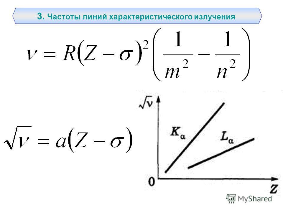 3. Частоты линий характеристического излучения