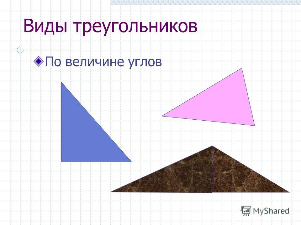 Виды треугольников По величине углов