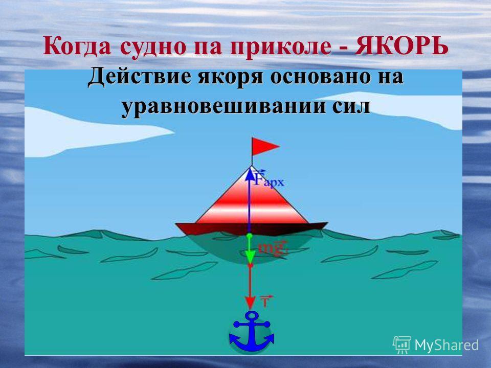 Когда судно па приколе - ЯКОРЬ Действие якоря основано на уравновешивании сил