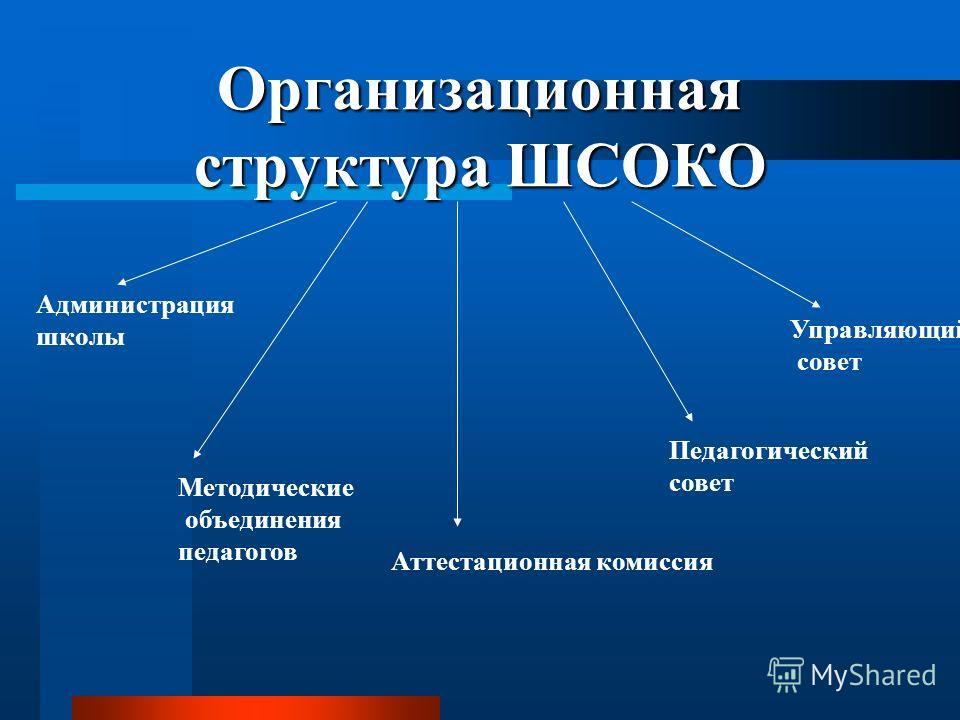Организационная структура ШСОКО Администрация школы Методические объединения педагогов Аттестационная комиссия Педагогический совет Управляющий совет