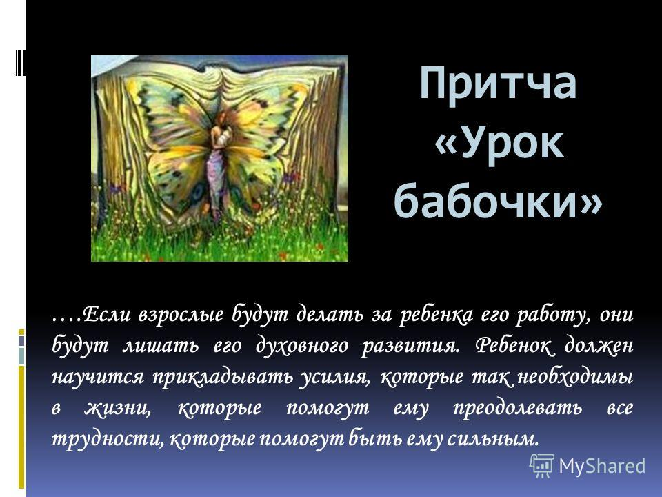 Притча «Урок бабочки» ….Если взрослые будут делать за ребенка его работу, они будут лишать его духовного развития. Ребенок должен научится прикладывать усилия, которые так необходимы в жизни, которые помогут ему преодолевать все трудности, которые по