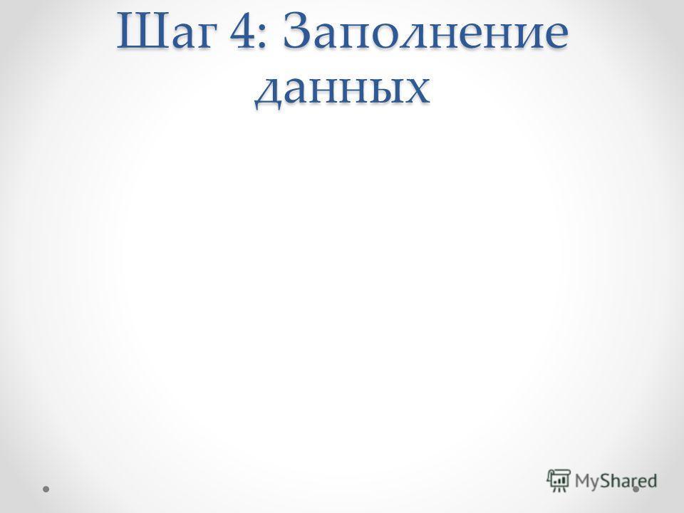 Шаг 4: Заполнение данных