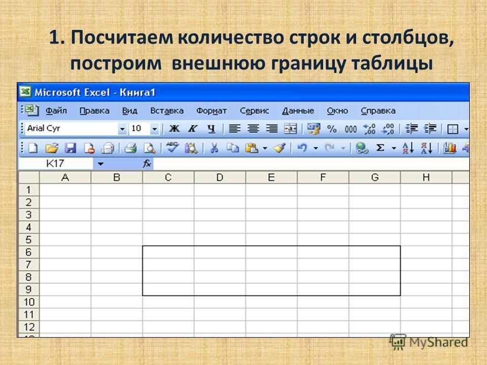 1. Посчитаем количество строк и столбцов, построим внешнюю границу таблицы