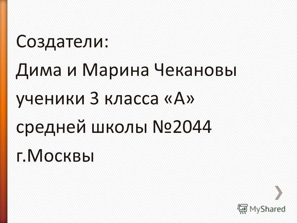 Создатели: Дима и Марина Чекановы ученики 3 класса «А» средней школы 2044 г.Москвы
