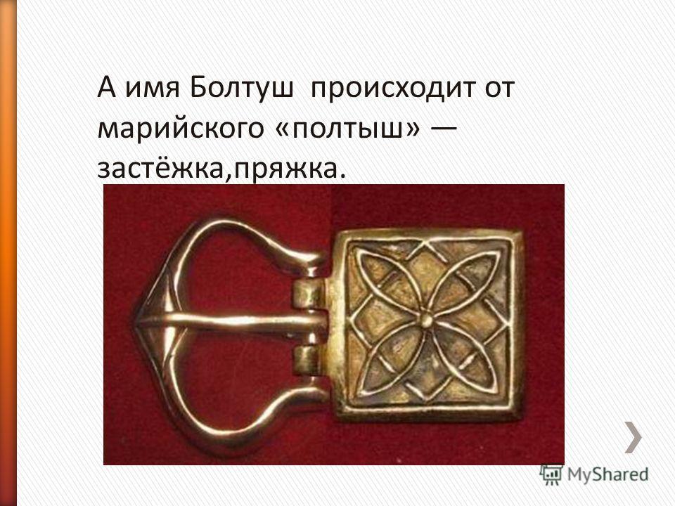 А имя Болтуш происходит от марийского «полтыш» застёжка,пряжка.