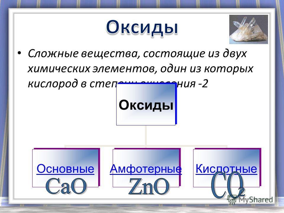 Сложные вещества, состоящие из двух химических элементов, один из которых кислород в степени окисления -2 Оксиды ОсновныеАмфотерныеКислотные