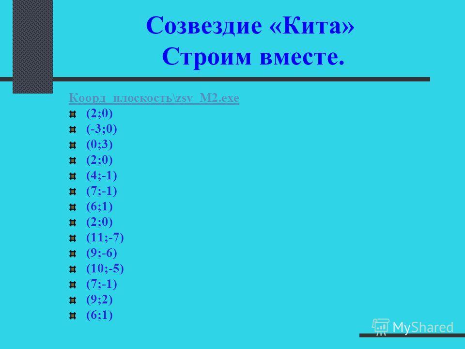 (-6;8) (-4;9) (0;8) (1;5) (8;5) (8;-2) (0;-1) (-2;-2) (-2;-4) Созвездие «Пегаса» Проверим себя!