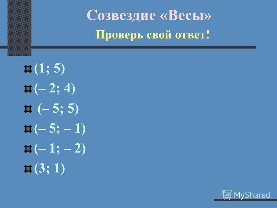 Созвездие «Весы» Определи координаты!