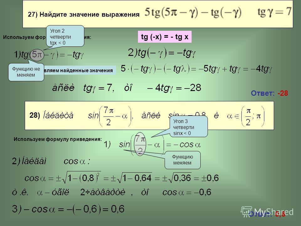 27) Найдите значение выражения Ответ: -28 Ответ: 0,6 Подставляем найденные значения Функцию не меняем Функцию меняем Используем формулу приведения: Угол 2 четверти tgx < 0 tg (-x) = - tg x 28) Используем формулу приведения: Угол 3 четверти sinx < 0