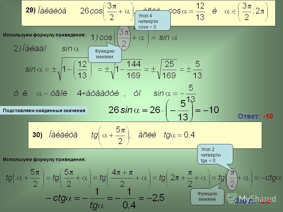 Ответ: -10 Ответ: -2,5 Подставляем найденные значения Функцию меняем Используем формулу приведения: 30) Используем формулу приведения: Угол 2 четверти tgx < 0 29) Угол 4 четверти cosx > 0
