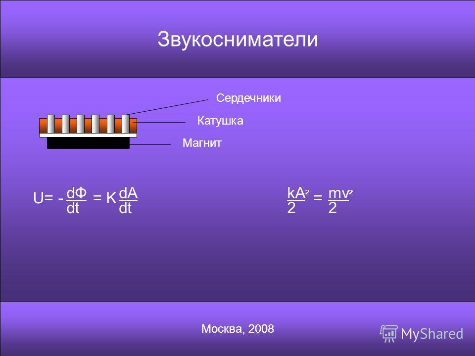 Звукосниматели Москва, 2008 Магнит Катушка Сердечники U= - dФdФ dt = K dA dt kA ² 2 = mv ² 2