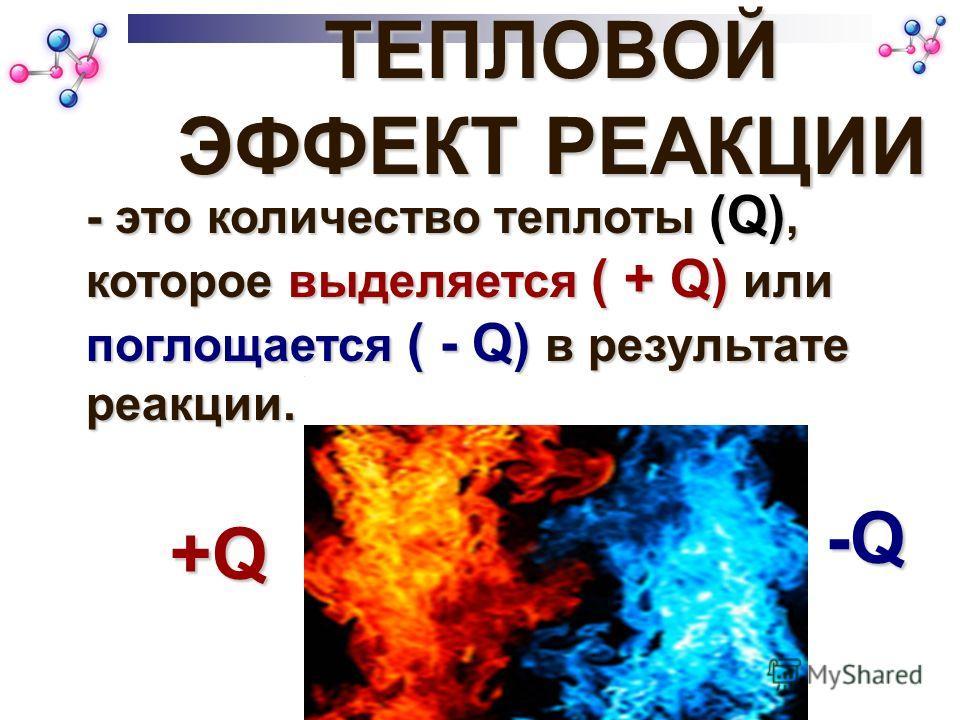 ТЕПЛОВОЙ ЭФФЕКТ РЕАКЦИИ - это количество теплоты (Q), которое выделяется ( + Q) или поглощается ( - Q) в результате реакции. +Q+Q+Q+Q -Q-Q-Q-Q
