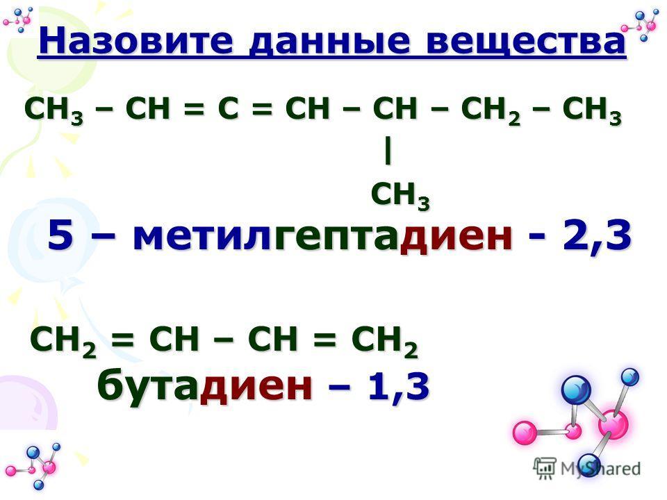 CH 3 – CH = C = CH – CH – CH 2 – CH 3 | | CH 3 CH 3 Назовите данные вещества CH 2 = CH – CH = CH 2 5 – метилгептадиен - 2,3 бутадиен – 1,3