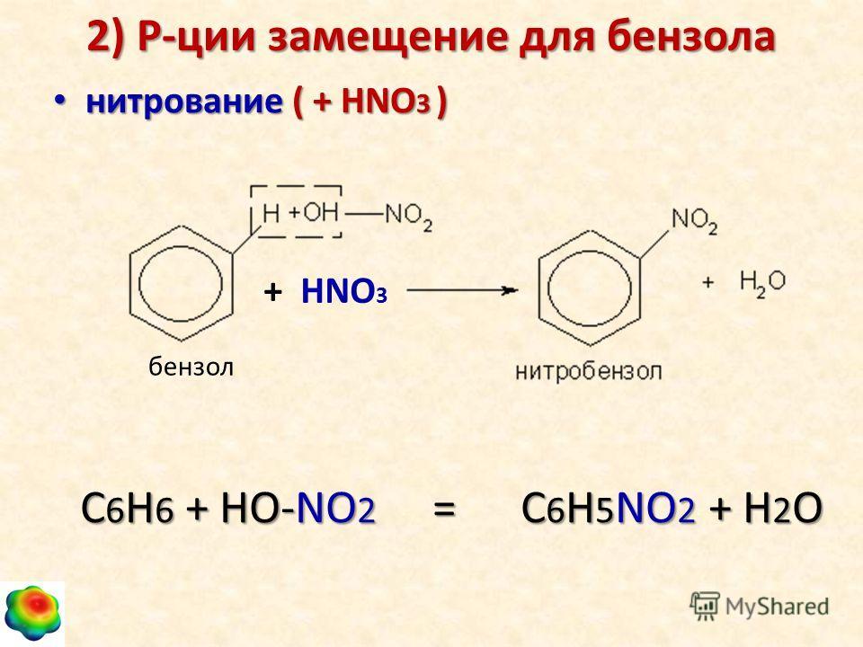 2) Р-ции замещение для бензола нитрование ( + НNO 3 ) нитрование ( + НNO 3 ) С 6 Н 6 + НО-NО 2 = С 6 Н 5 NО 2 + Н 2 О + HNO 3 бензол