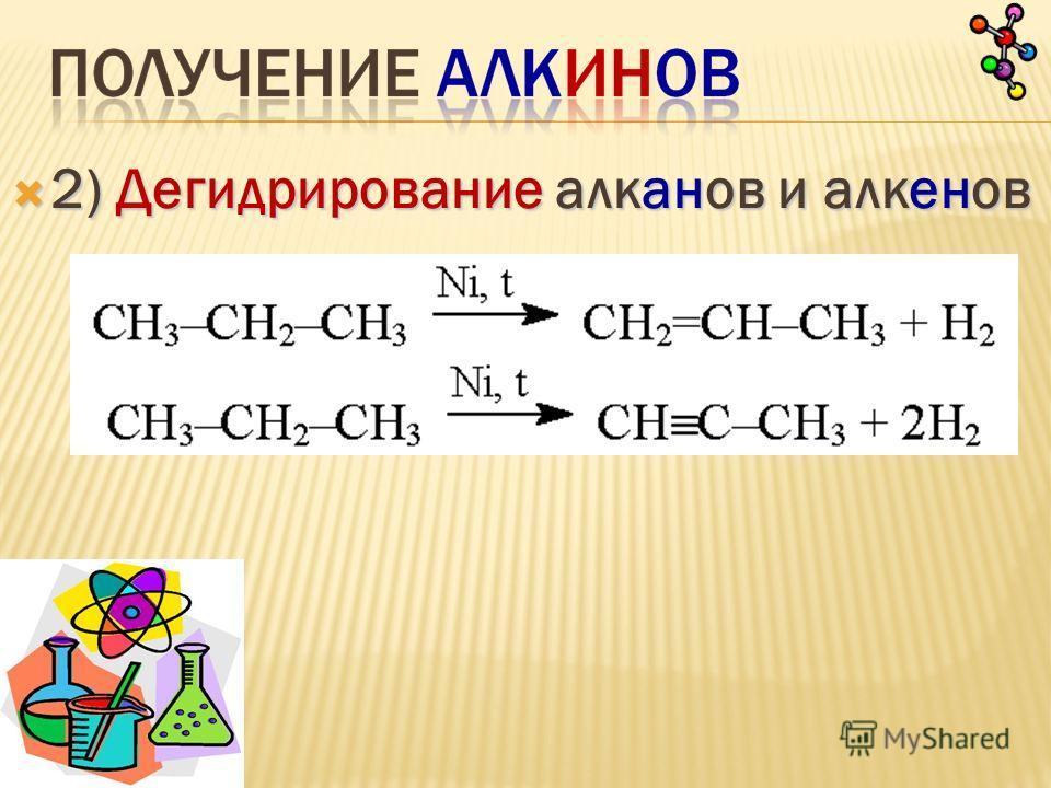 2) Дегидрирование алканов и алкенов 2) Дегидрирование алканов и алкенов