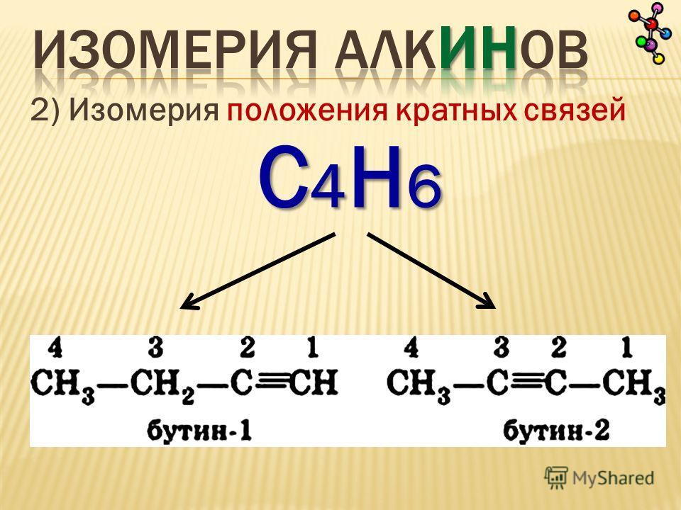 2) Изомерия положения кратных связей С4Н6С4Н6С4Н6С4Н6