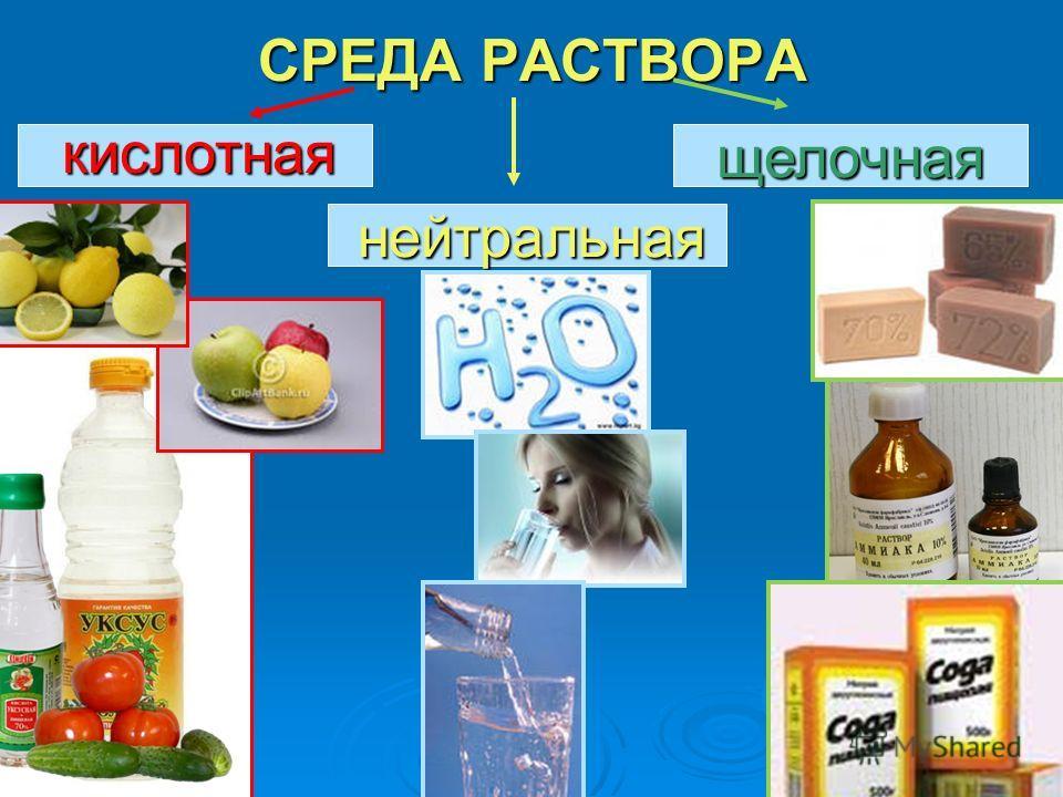 СРЕДА РАСТВОРА кислотная нейтральная щелочная