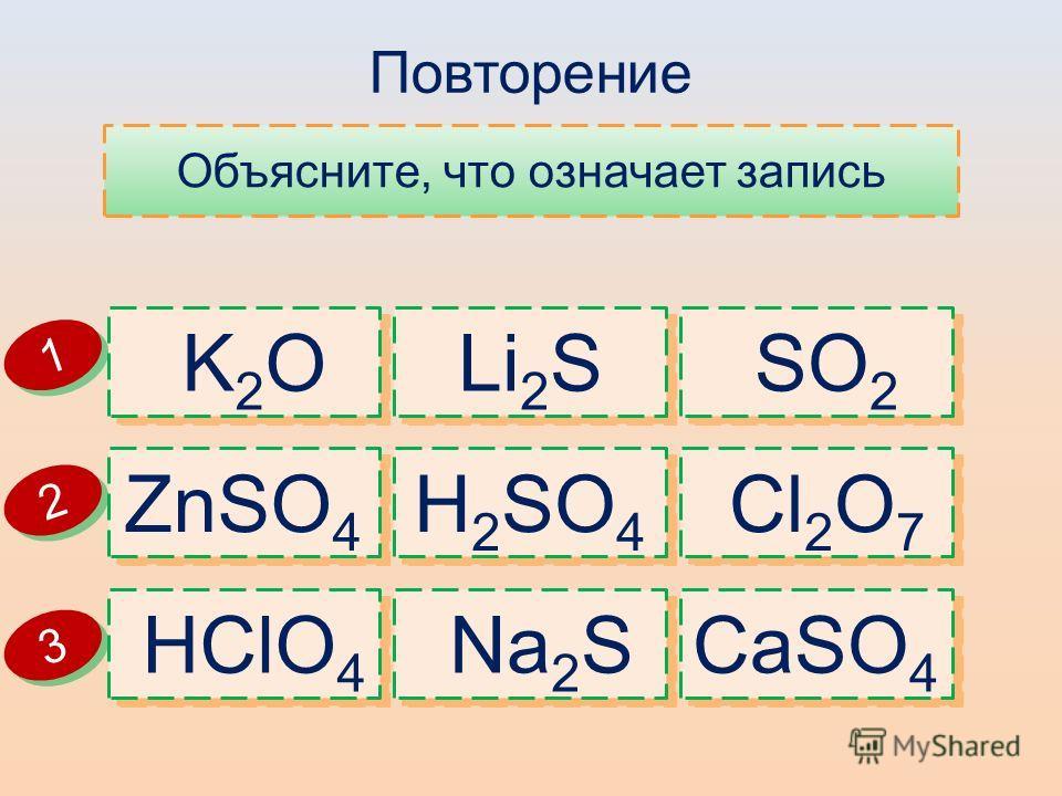 Повторение Объясните, что означает запись HClO 4 Na 2 S CaSO 4 ZnSO 4 H 2 SO 4 Cl 2 O 7 K 2 O Li 2 S SO 2 1 1 2 2 3 3