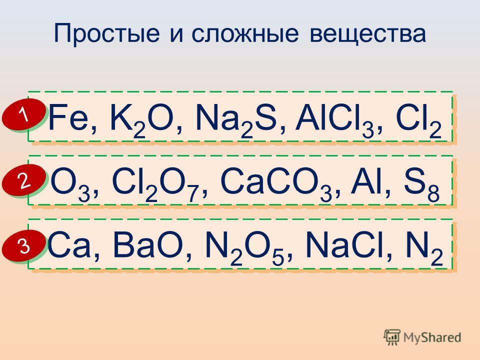 Простые и сложные вещества Fe, K 2 O, Na 2 S, AlCl 3, Cl 2 O 3, Cl 2 O 7, CaCO 3, Al, S 8 Ca, BaO, N 2 O 5, NaCl, N 2 1 1 2 2 3 3