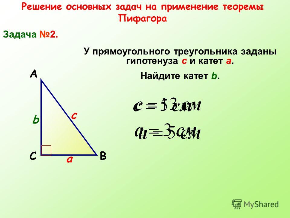 Решение основных задач на применение теоремы Пифагора Задача 2. СВ А У прямоугольного треугольника заданы гипотенуза с и катет а. Найдите катет b. а b c