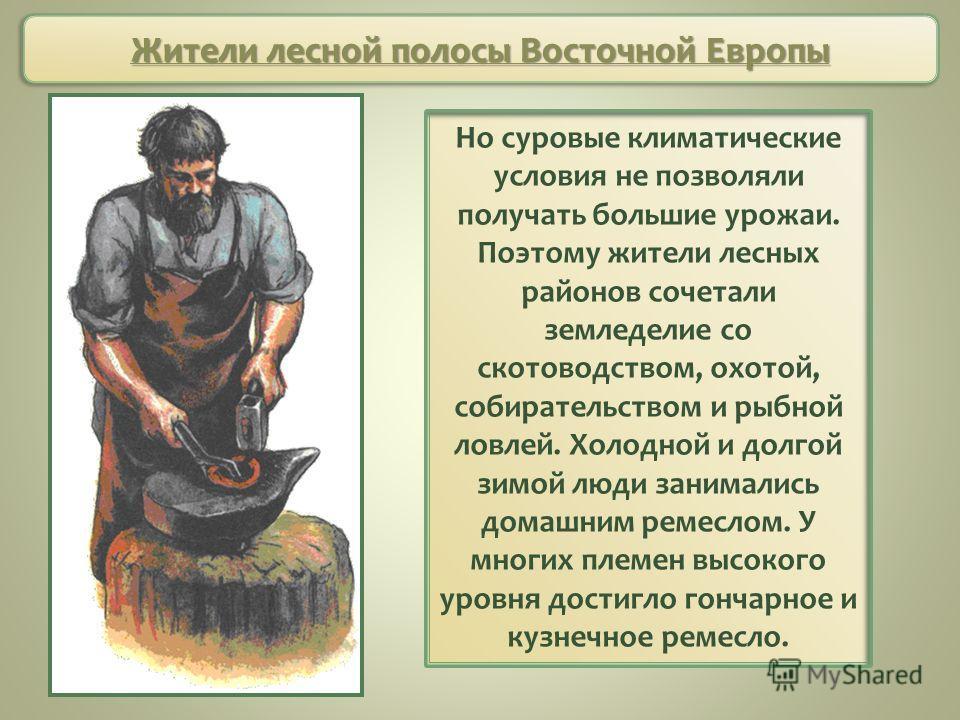Жители лесной полосы Восточной Европы Но суровые климатические условия не позволяли получать большие урожаи. Поэтому жители лесных районов сочетали земледелие со скотоводством, охотой, собирательством и рыбной ловлей. Холодной и долгой зимой люди зан