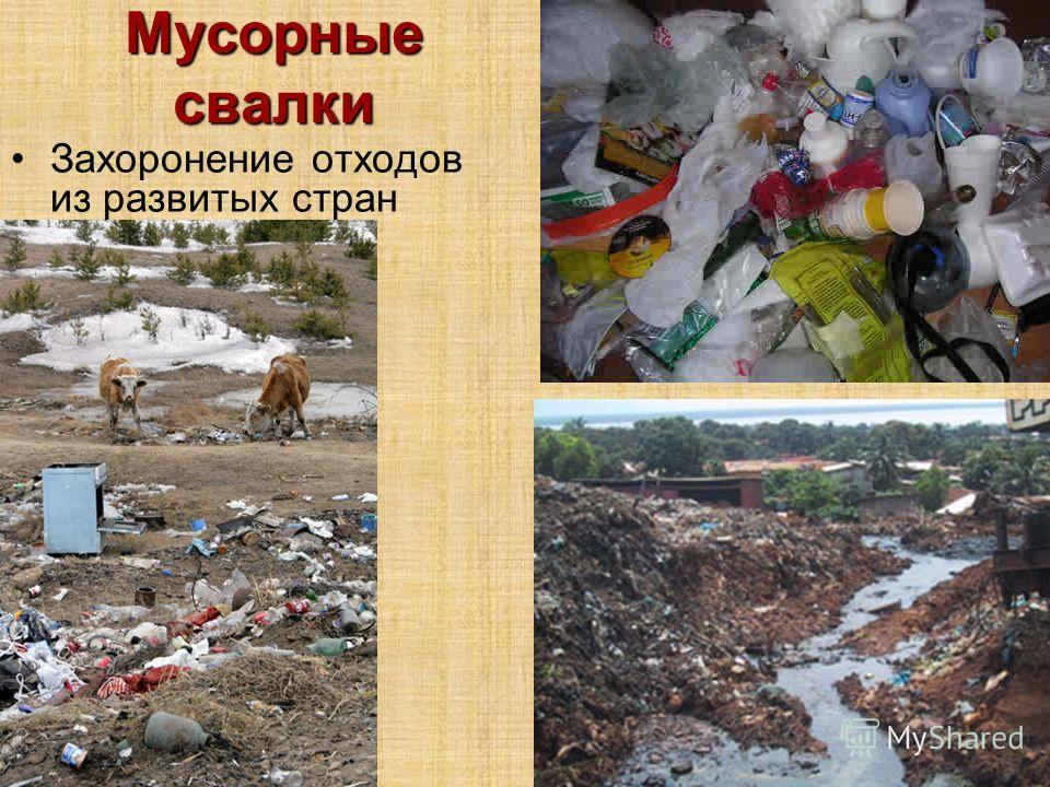Мусорные свалки Захоронение отходов из развитых стран