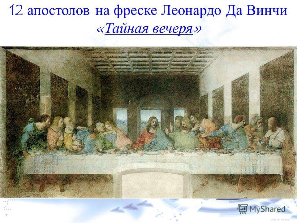 12 апостолов на фреске Леонардо Да Винчи «Тайная вечеря»Тайная вечеря
