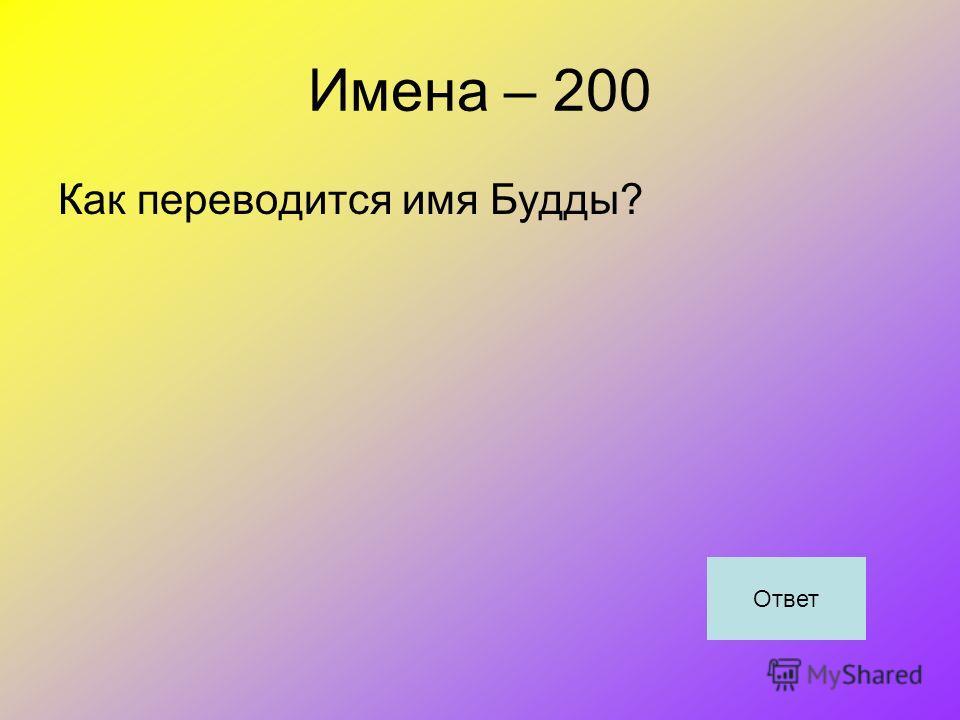 Имена – 200 Как переводится имя Будды? Ответ